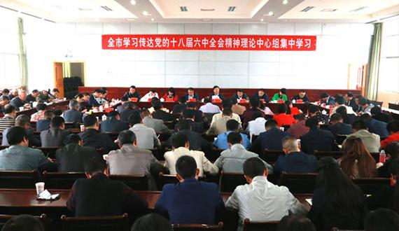 市委理论学习中心组集中学习党的十八届六中全会精神